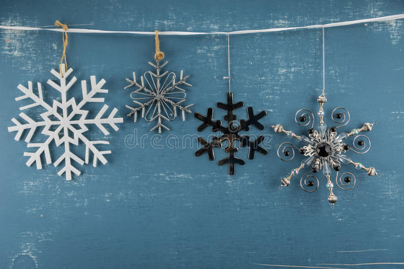 Four Snowflake Ornaments stock image. Image of gray, wire - 88866203