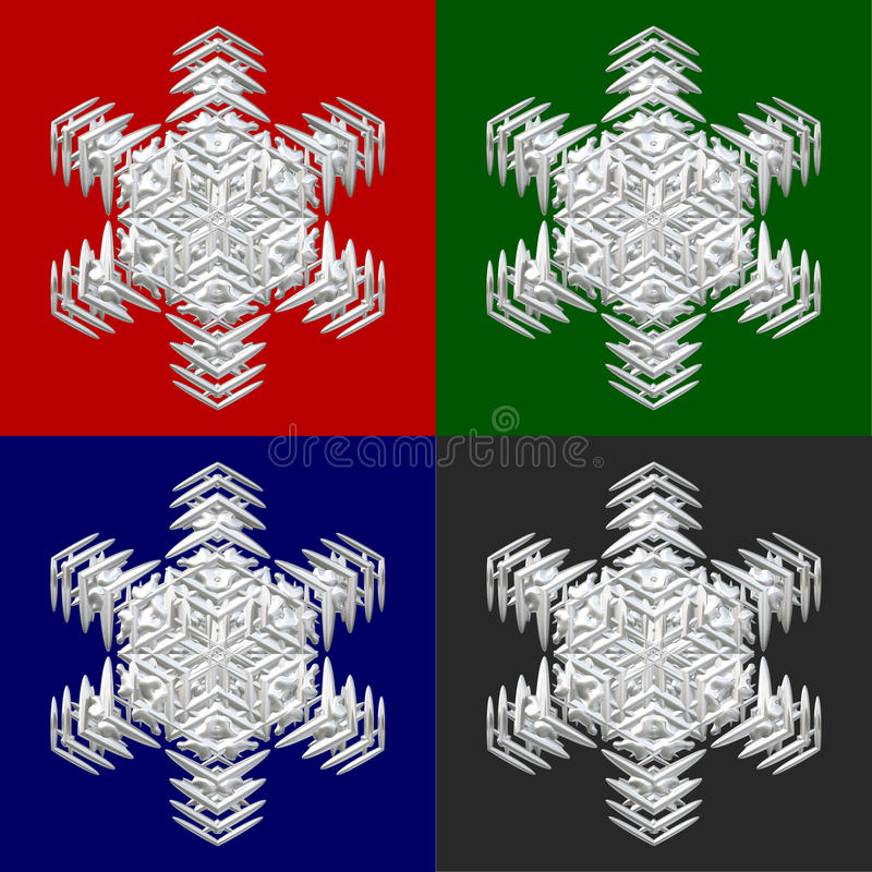 Four snowflakes on colored backround. Four white snowflakes on red, green, blue and grey background - good image for a christmas, new year and winter themes stock illustration