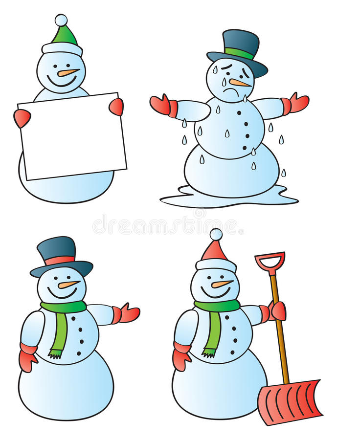 Download Four Snowmen stock vector. Image of dripping, january - 22257162