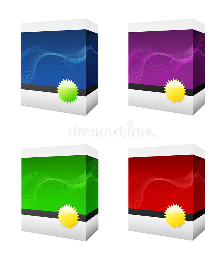 Four software boxes royalty free illustration