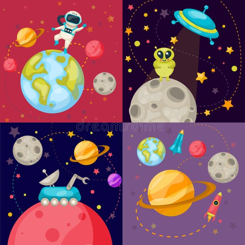 Four Space Icon Set royalty free illustration