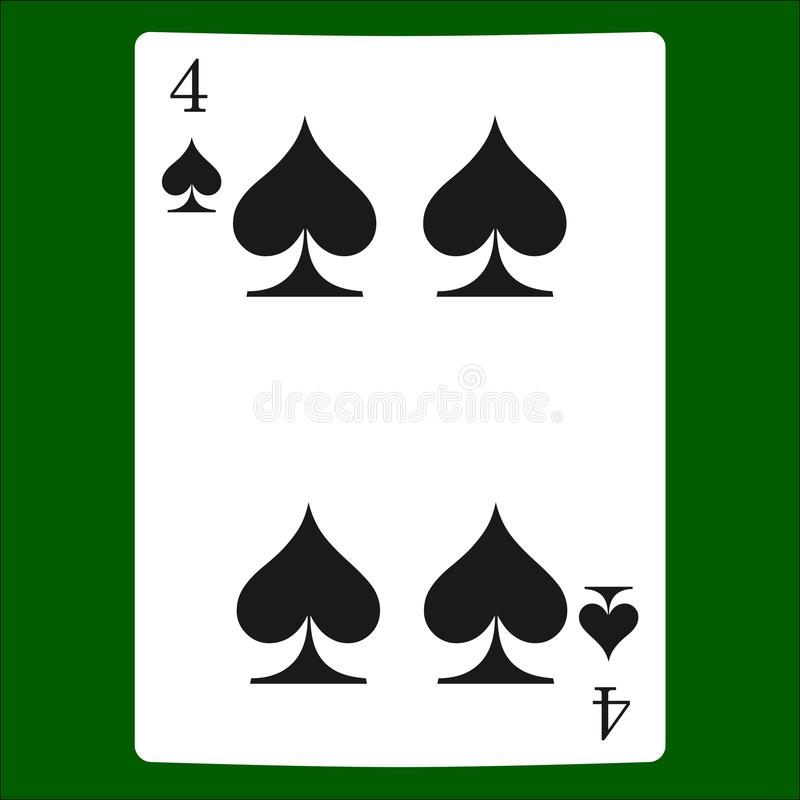 Four Spades Card Suit Icon Vector Playing Cards Symbols Vector
