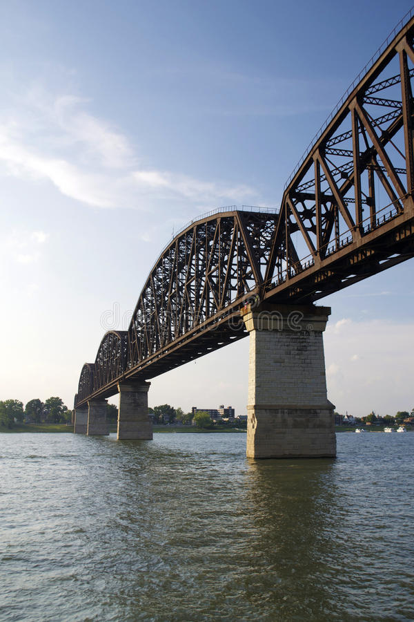 Four Span River Bridge. Four span railroad bridge crossing the Ohio River stock image