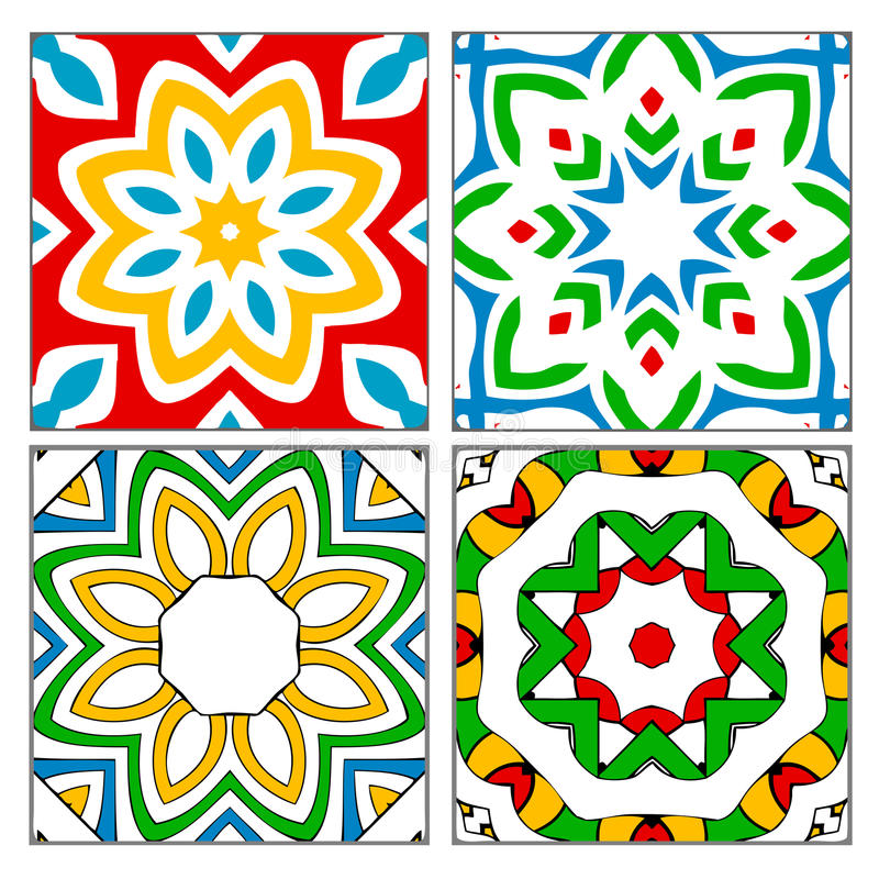 Four spanish tile patterns