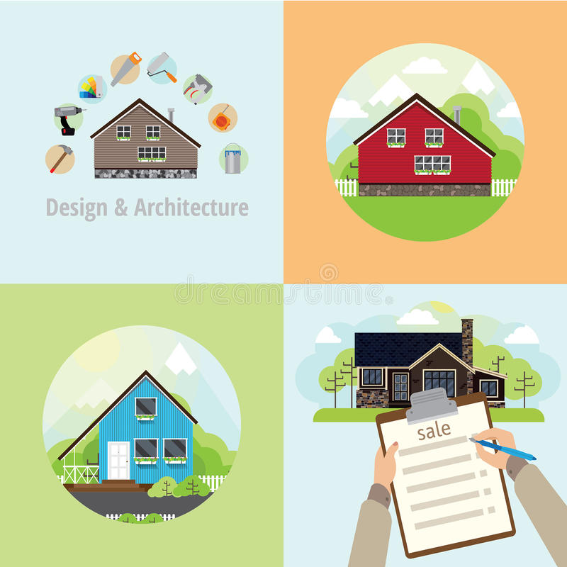 Four square banner with houses. Repair in a house, sell the house and the house with the landscape in a circle stock illustration