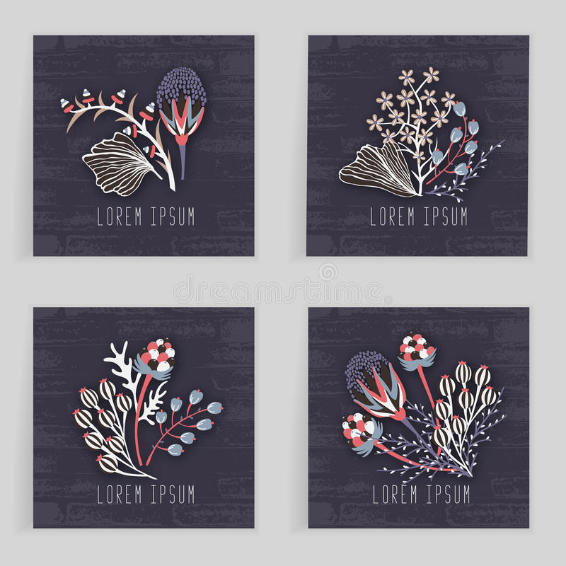 Four square cards. Hand drawn creative flower. Colorful artistic background with blossom. Abstract herb royalty free illustration