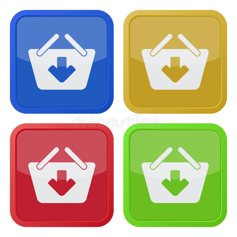 Four square color icons, shopping basket add royalty free illustration