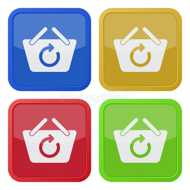 Four square color icons, shopping basket refresh royalty free illustration