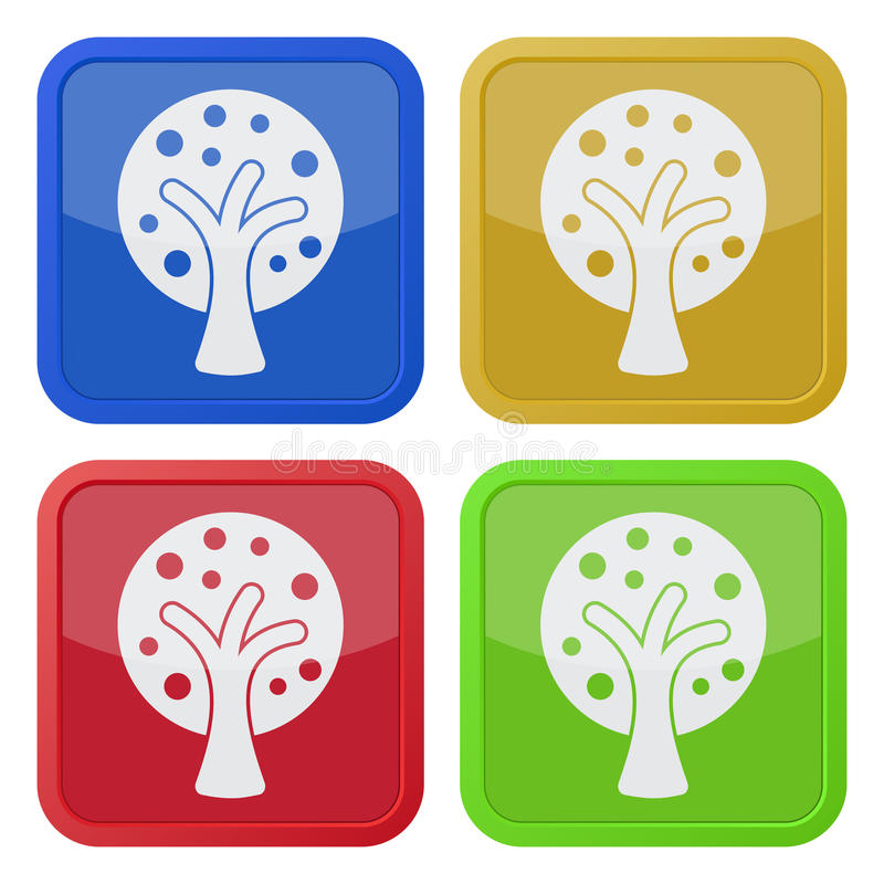 Four square color icons, tree with branches. Set of four square colored buttons and icons, stylized tree with branches and fruits stock illustration