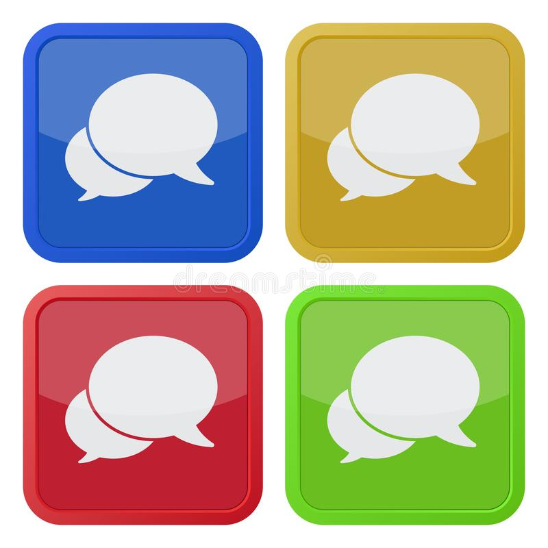 Four square color icons, two speech bubbles royalty free illustration