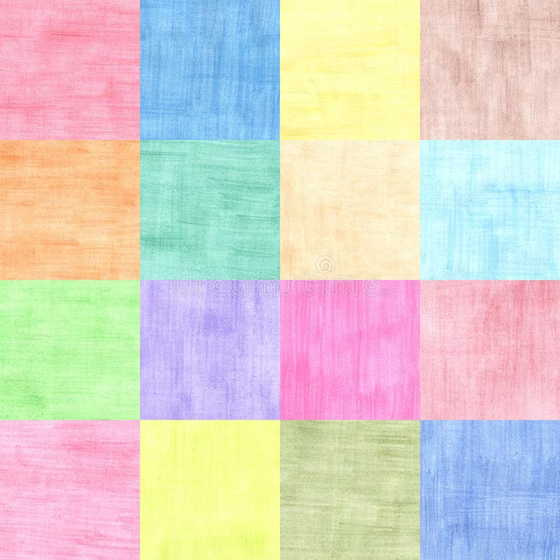 Four by four squares collage of colorful sheets of paper stock image