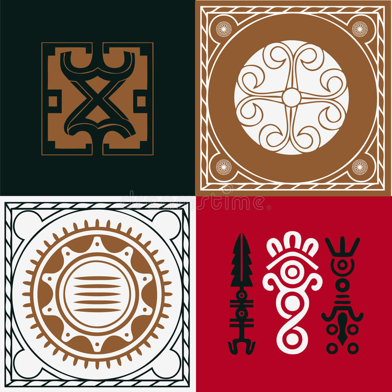 Download Four Squares With National Indian Ornaments Stock Vector - Image: 29067433