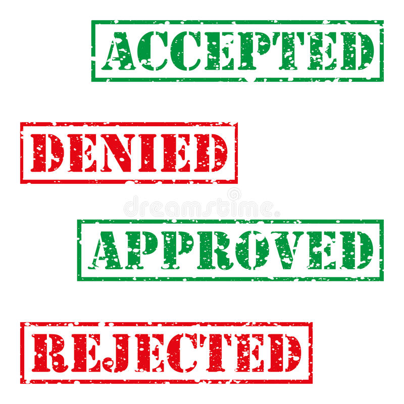 Four stamp with grunge. Accepted, denied, aproved, rejected stock illustration