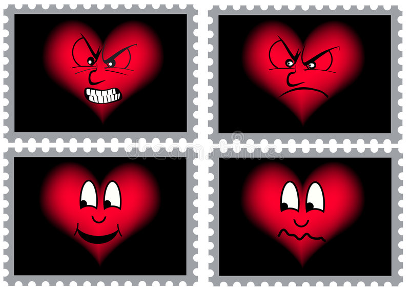 Four stamps with hearts royalty free stock images
