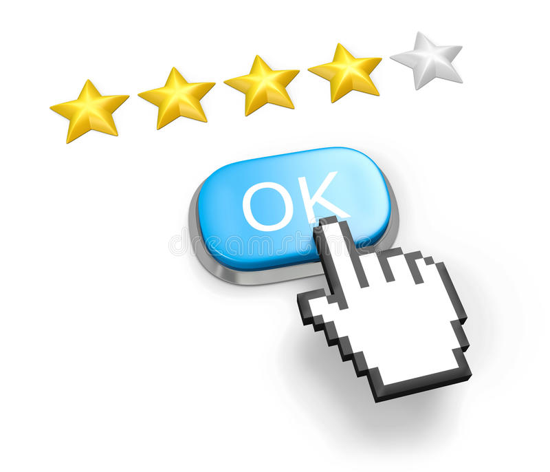 Four Stars Rating. Button OK And Hand Cursor. Stock Photography