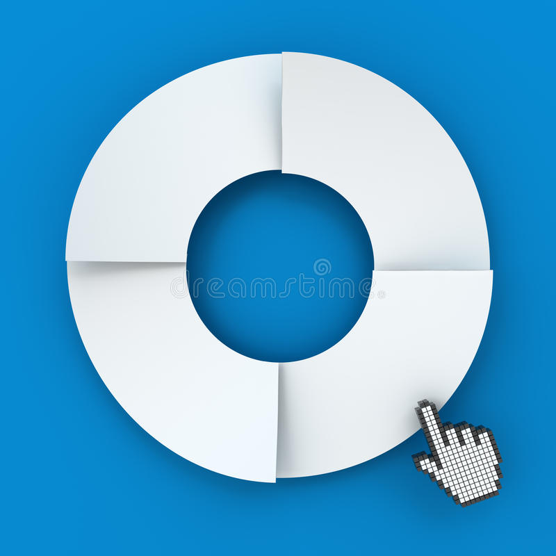 Four steps circle infographic chart with hand. Cursor, 3d render, blue background stock illustration