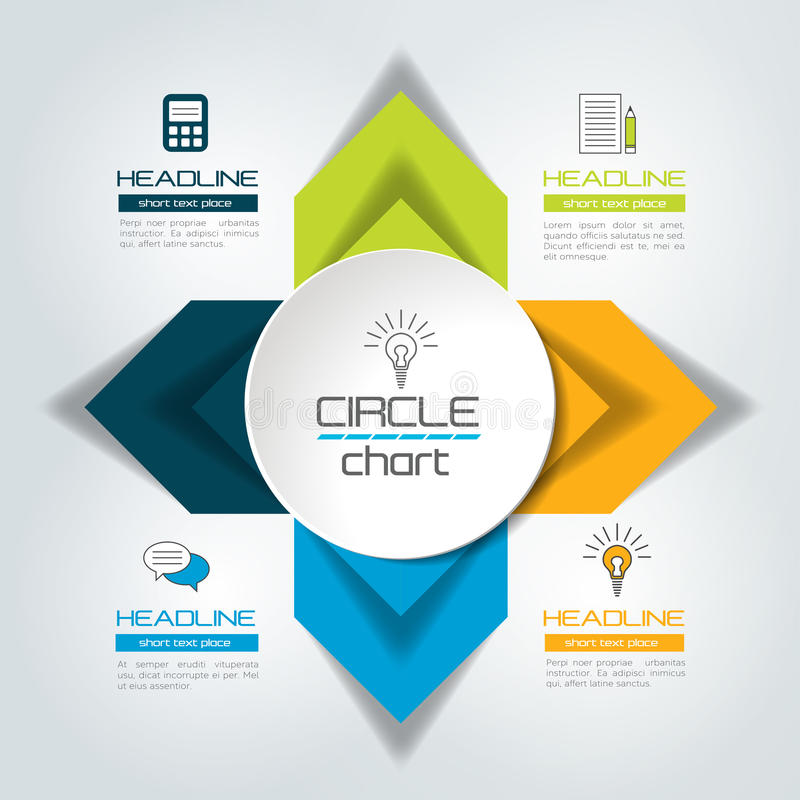 Four steps connected circle, round arrows infographic. royalty free illustration
