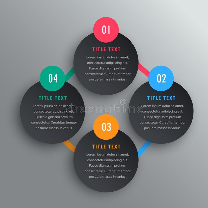 Four steps infographic chart design in dark theme. royalty free illustration