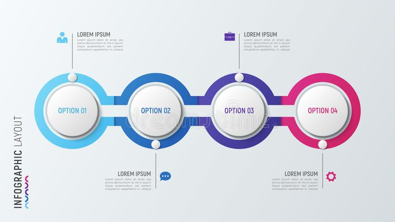 Four steps infographic process chart. 4 options vector template. vector illustration