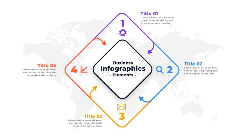 Four steps infographic report presentation template design. Vector stock illustration
