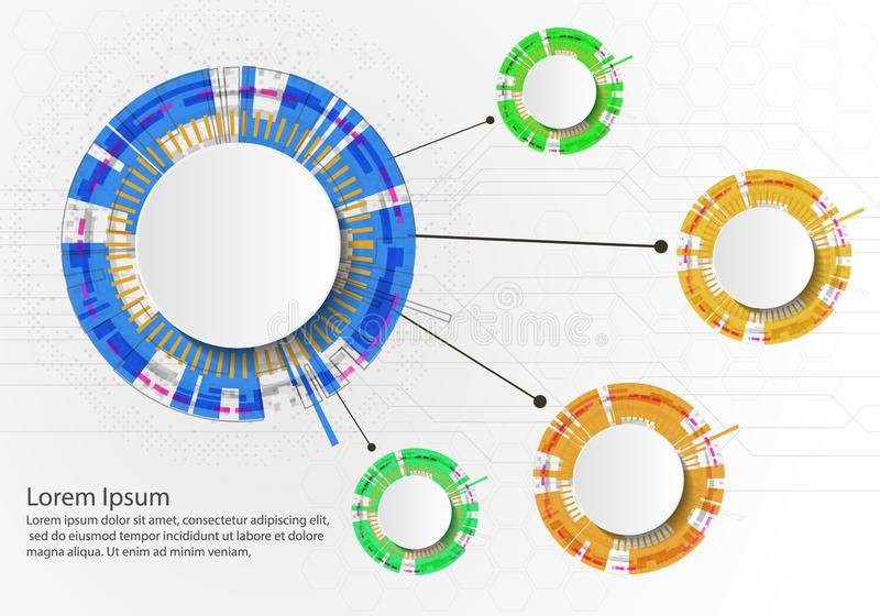 Four steps infographics with circles on White backgraund. Can be used for workflow layout, diagram, business step options, banner stock illustration