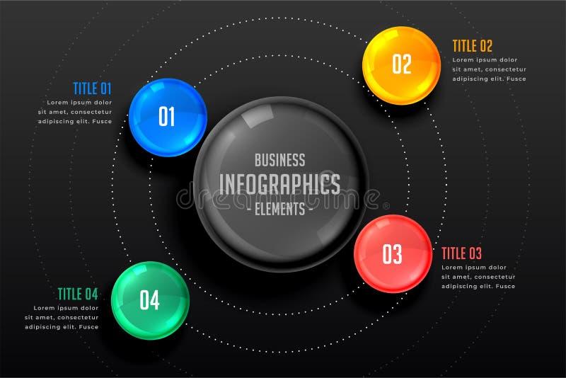 Four steps infographics dark template stock illustration