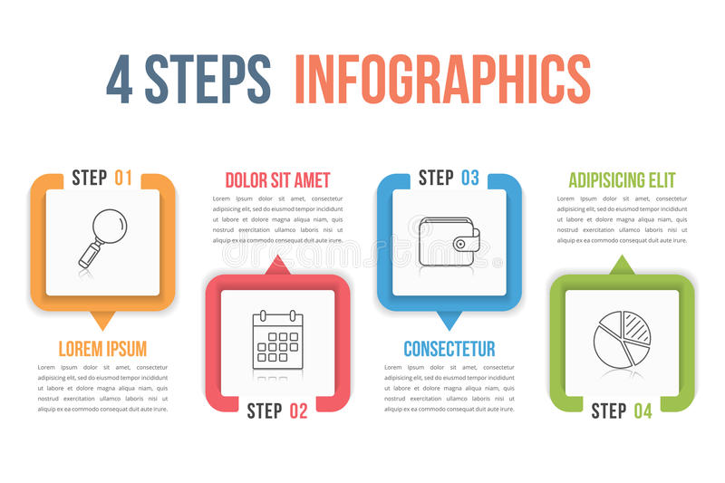 Four Steps Infographics. Process chart template, four steps infographics vector illustration