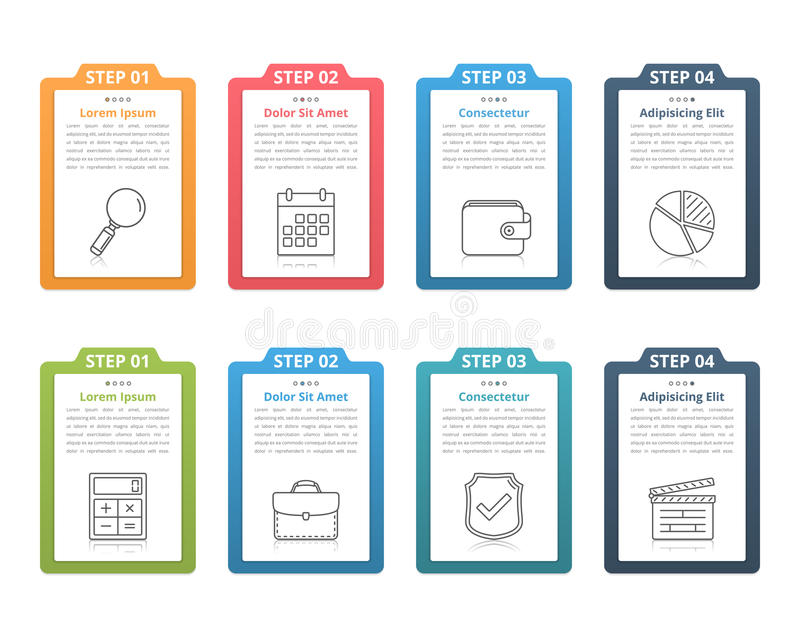 Four Steps Infographics. Set of infographic elements with numbers, line icons and place for your text, can be used as workflow, process, steps or options vector illustration