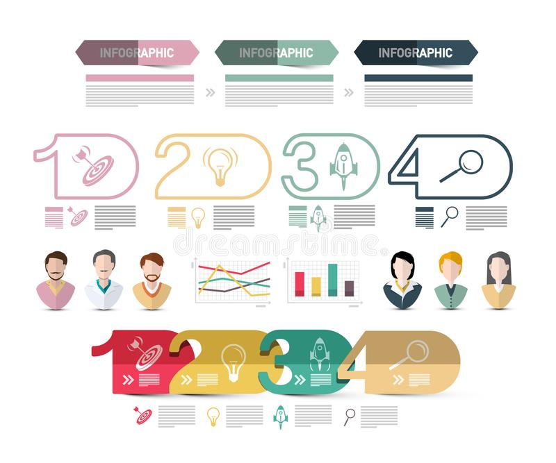 Four Steps Modern Web Presentation with people Avatars Icons and Sample Texts. Vector Infographics Design. stock illustration