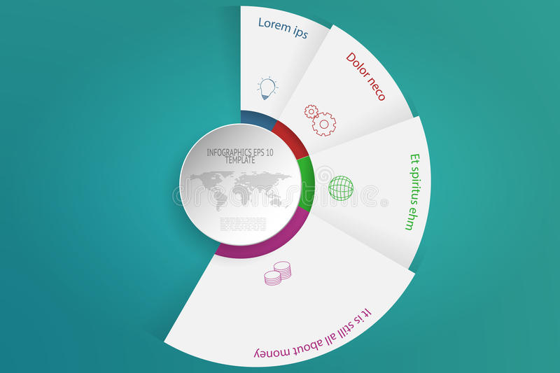 Four steps rounded infographics with 3D objects, outline icons a royalty free illustration