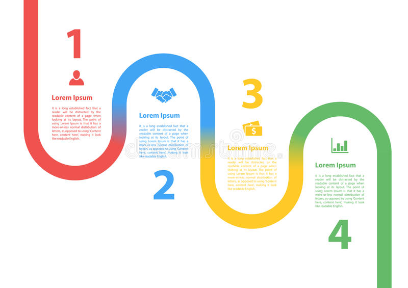Four steps sequence process diagram infographic layout concept. Vector illustration for business royalty free illustration