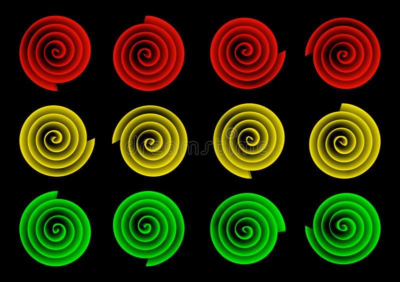 Four street lights on black background. Four street lights on a black background vector illustration