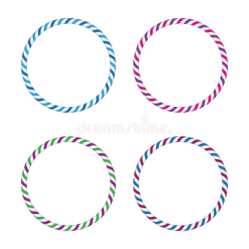 Four striped gymnastic hoops. Sports equipment. Vector illustration stock illustration
