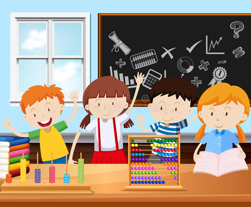 Four students in classroom stock illustration
