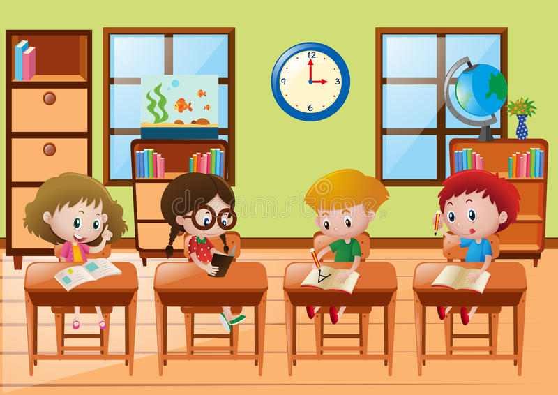Four students learning at school royalty free illustration