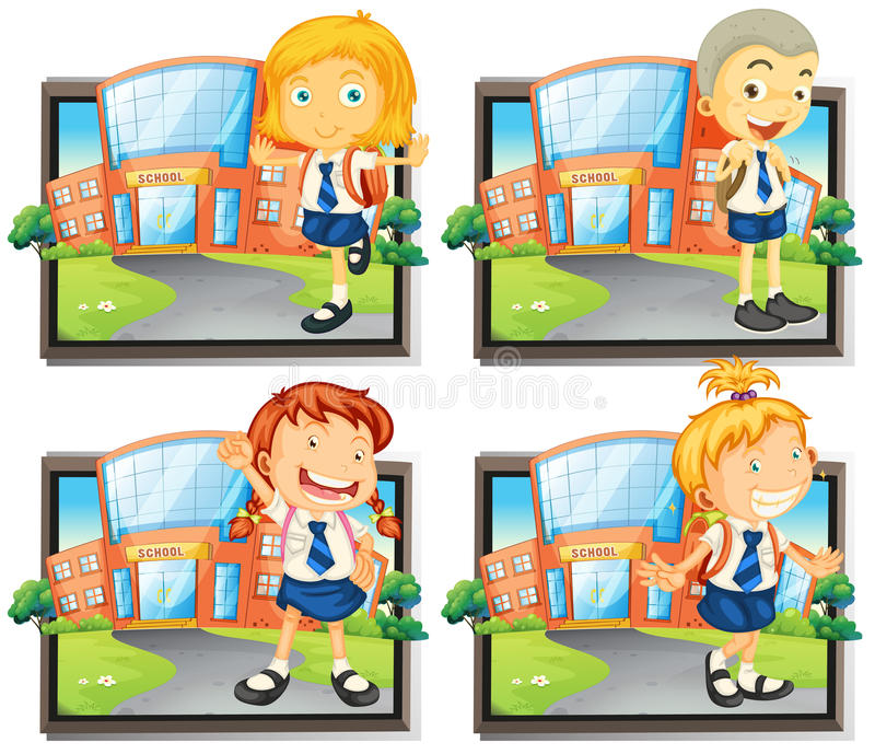 Four students in uniform at school vector illustration