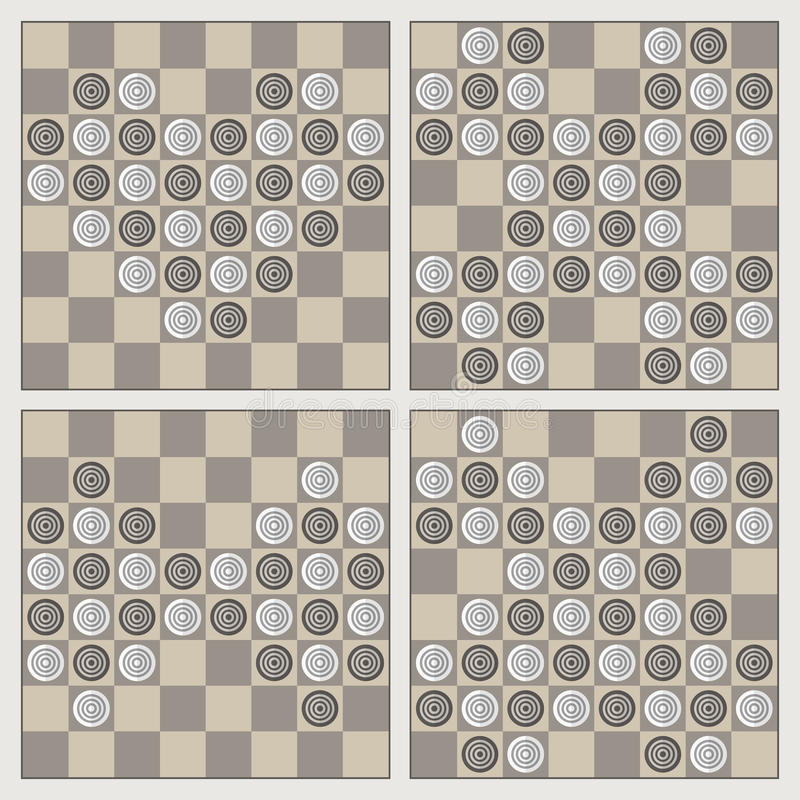 Four stylish figures of draughts. On checkerboards: heart, cross, bow-tie and butterfly royalty free illustration