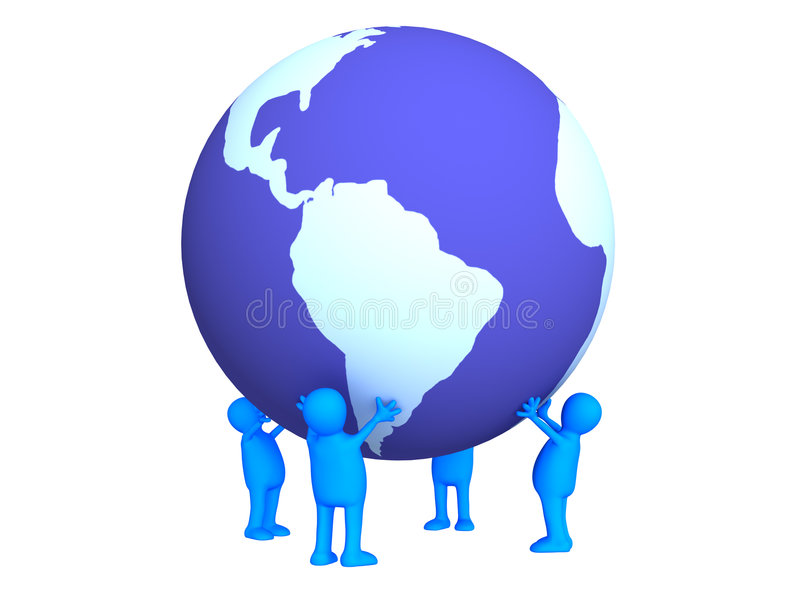 Download Four Stylized Persons Holding On Hands The Earth Stock Illustration - Image: 4253496