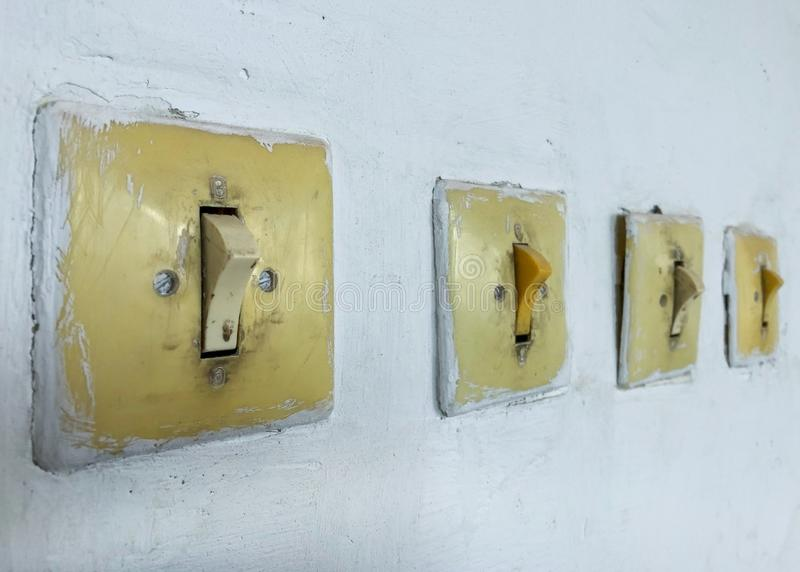 Vintage switch and switch on the wall. royalty free stock images
