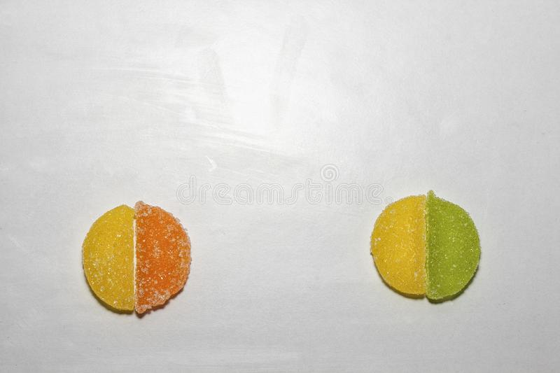 Four Sugar candies shaped as two circles royalty free stock photo