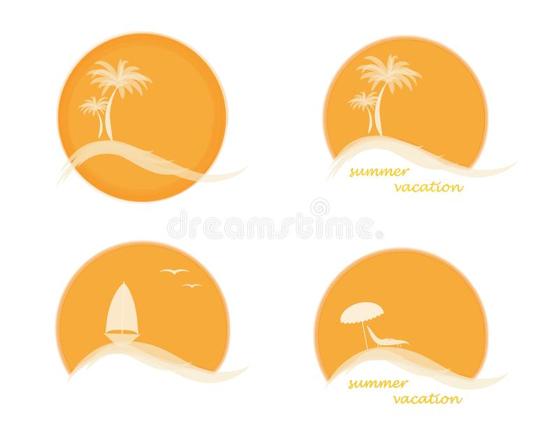 Four summer logo with sun, palm trees, ocean or sea, sailing ship and beach, vector illustration isolated on the white background. Four summer logo with sun stock illustration
