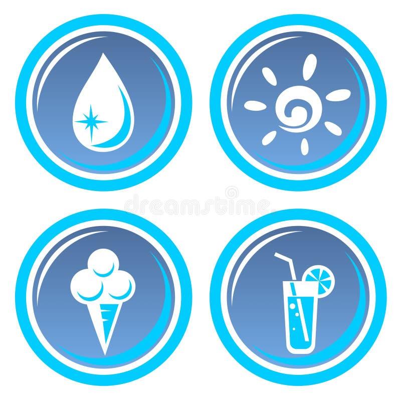 Download Four summer symbols stock vector. Image of white, aqua - 5822145