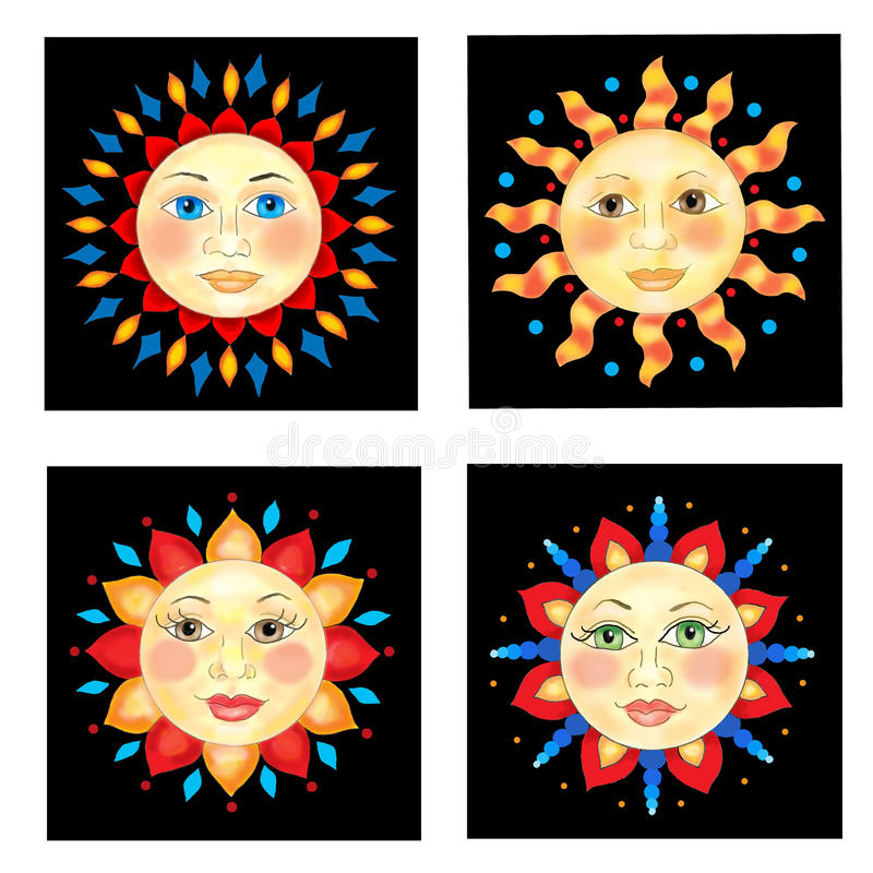 Download Four Sun Faces Stock Image - Image: 15150751