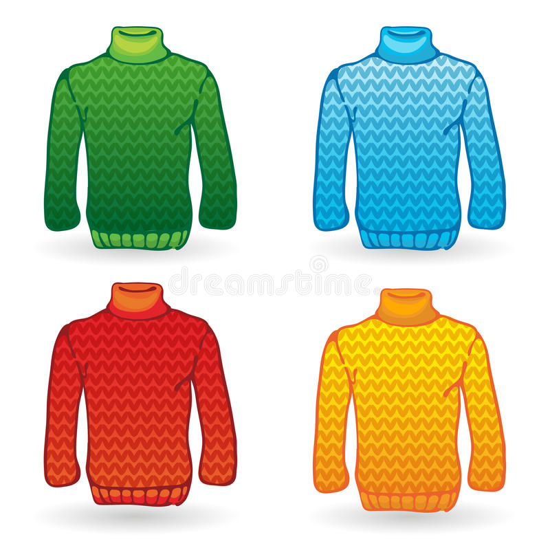 Download Four Sweater Icons On White Background. Knitting Stock Vector - Image: 27459435