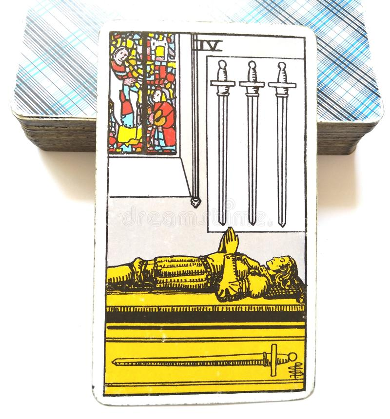 4 Four of Swords Tarot Card Mental Exhaustion Stress Overwhelmed Retreat Time-Out Healing Peace & Quiet. 4 Four of Swords Tarot Card is about Mental Exhaustion royalty free stock photos