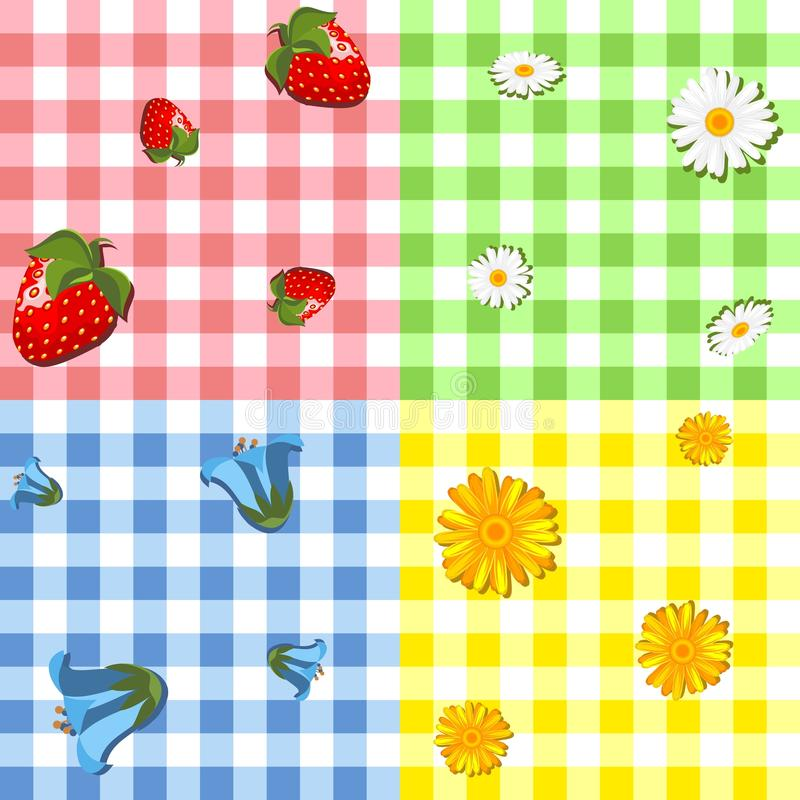 Download Four tablecloth pattern stock vector. Image of fruits - 24751601