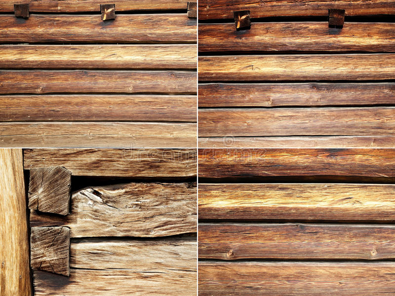 Four textures beams and wooden boards royalty free stock photography