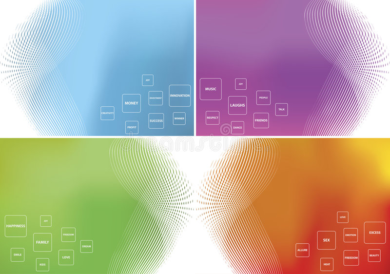 Four themed vector backgrounds stock illustration