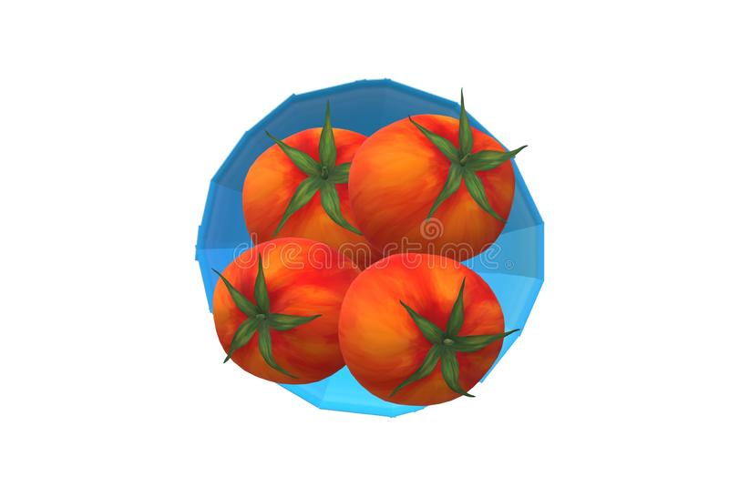 Four tomatoes on a bright blue bowl top down view with white backdrop royalty free stock images