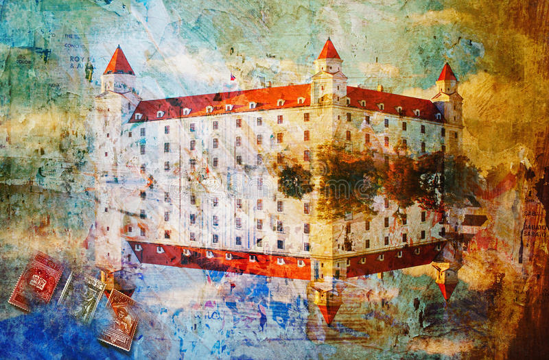 Four tower Bratislava castle, abstract digital art. Printable on canvas, wallpaper stock photos